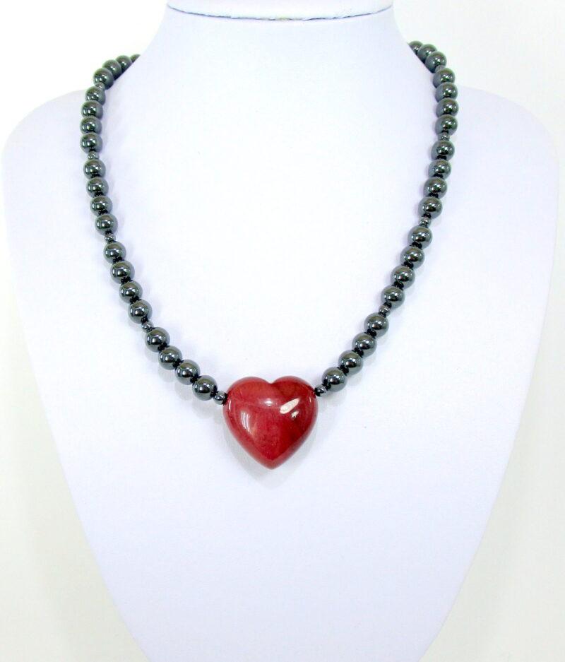 Ogrlica hematit s srcem - jaspis