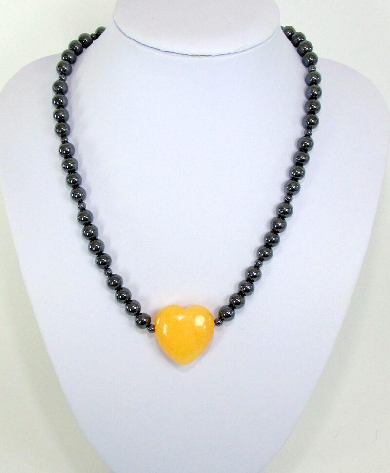 Ogrlica iz hematita s srcem-kalcit